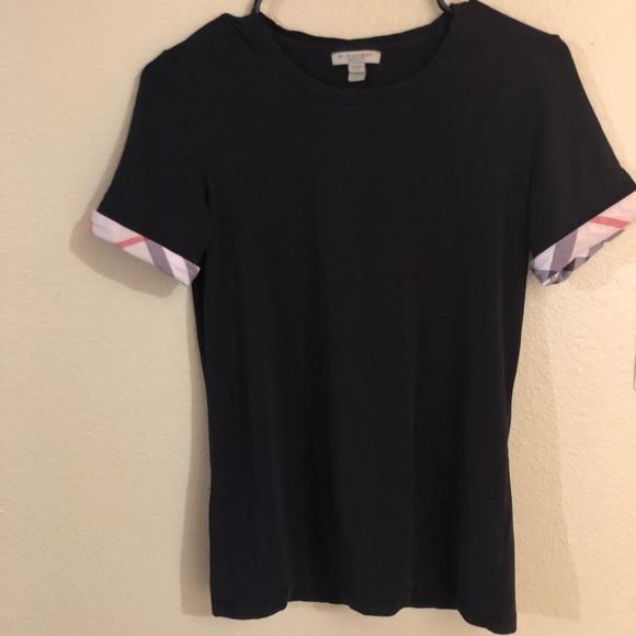 b020562613c3 Burberry Tops | Brit Check Cuff Tee Black T Shirt Small | Poshmark